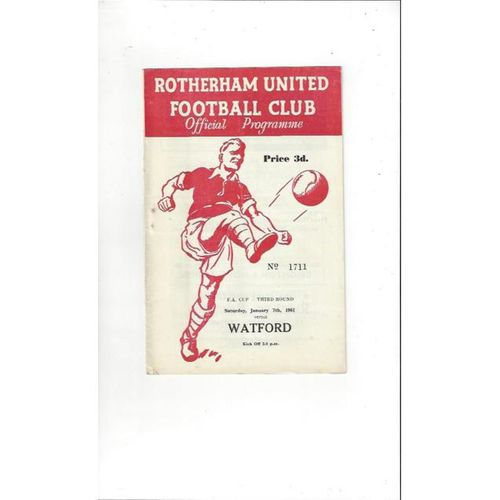 1960/61 Rotherham United v Watford FA Cup Football Programme
