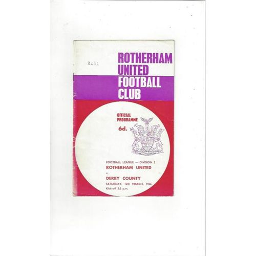 1965/66 Rotherham United v Derby County Football Programme
