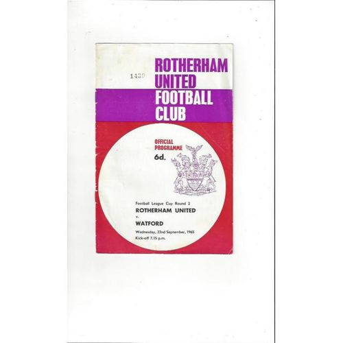1965/66 Rotherham United v Watford League Cup Football Programme