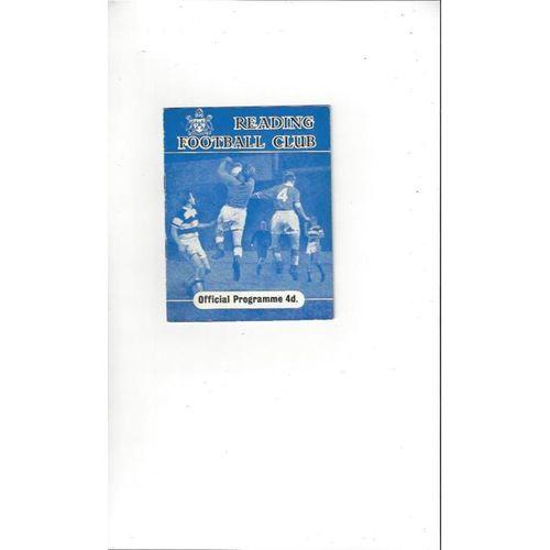 1960/61 Reading v Bournemouth Football Programme