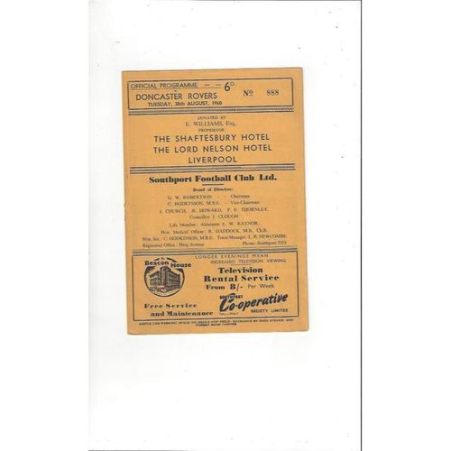 1960/61 Southport v Doncaster Rovers Football Programme