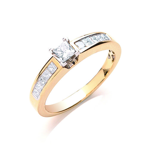 18ct GOLD PRINCESS CUT DIAMOND RING 0.50ctw