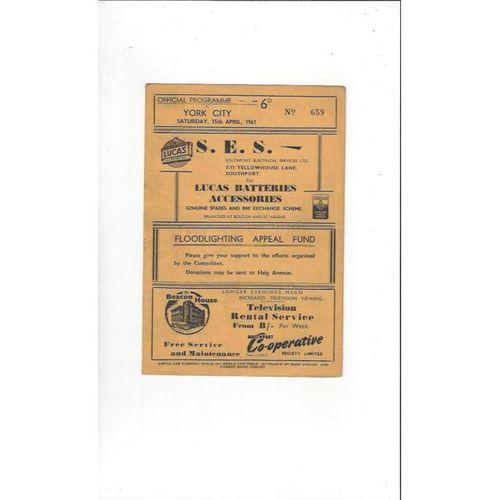 1960/61 Southport v York City Football Programme