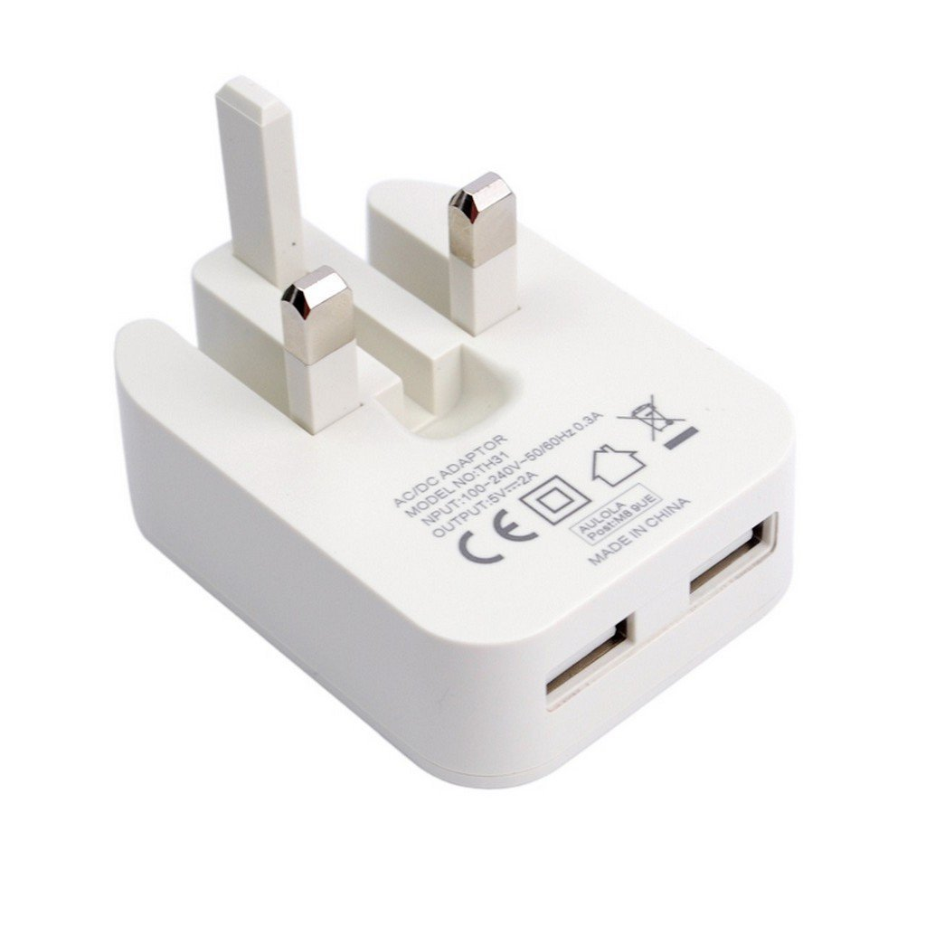 Aulola White Black 5v 2a 2 Ports Dual Usb Ac Power Adaptor Mrdtech