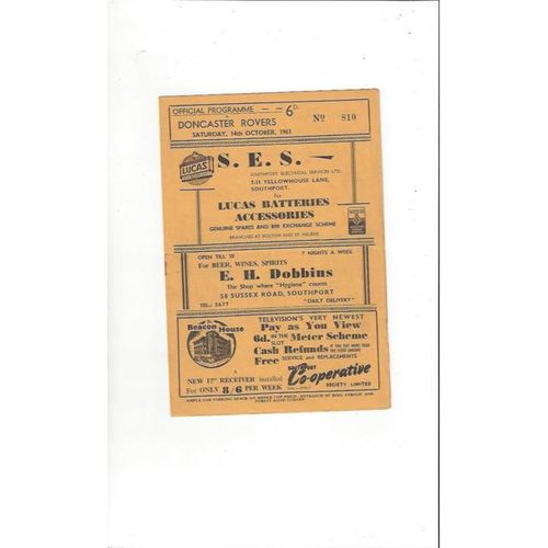 1961/62 Southport v Doncaster Rovers Football Programme