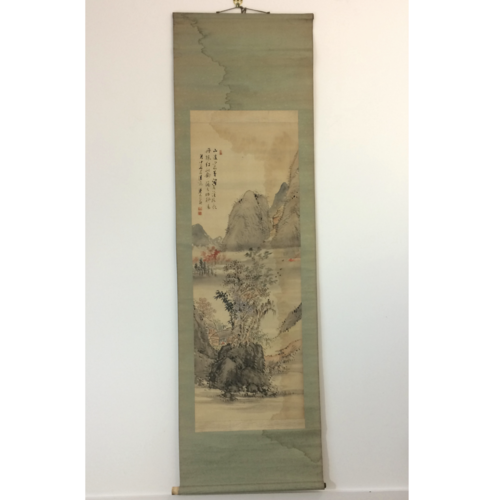 Chinese hanging scroll 177cm: mountains & house