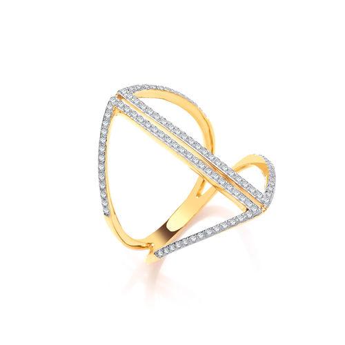9ct GOLD & DIAMOND DRESS RING
