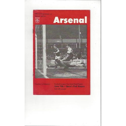 1976/77 Aston Villa v Queens Park Rangers League Cup Semi Final Replay Football Programme @ Arsenal