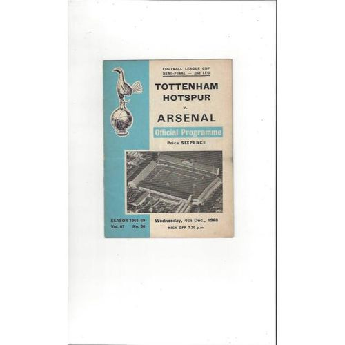 1968/69 Tottenham Hotspur v Arsenal League Cup Semi Final Football Programme