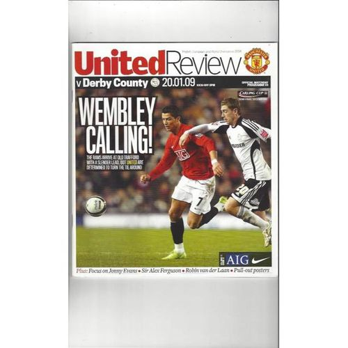 2008/09 Manchester United v Derby County Carling Cup Semi Final Football Programme + Team Sheet