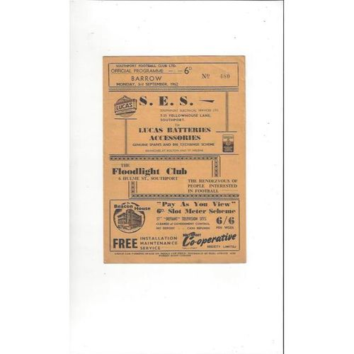 1962/63 Southport v Barrow Football Programme