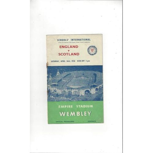 1958 England v Scotland Schools International Football Programme