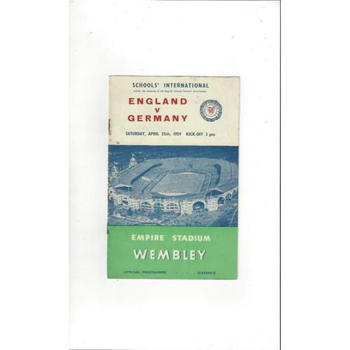 1959 England v Germany Schools International Football Programme