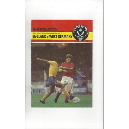 1982 England v West Germany U21 Euro Championship Semi Final Football Programme @ Sheffield United