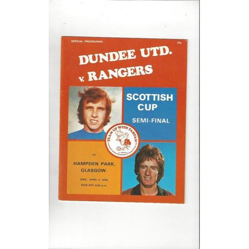 1978/79 Dundee United v Rangers Scottish Cup Semi Final Football Programme