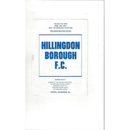 1976/77 Hillingdon Borough v Molesey FA Cup Replay Football Programme