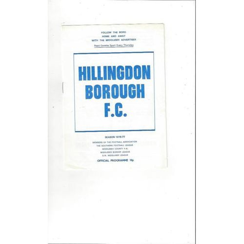 1976/77 Hillingdon Borough v Staines Town FA Cup Football Programme