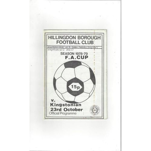 1978/79 Hillingdon Borough v Kingstonian FA Cup Football Programme