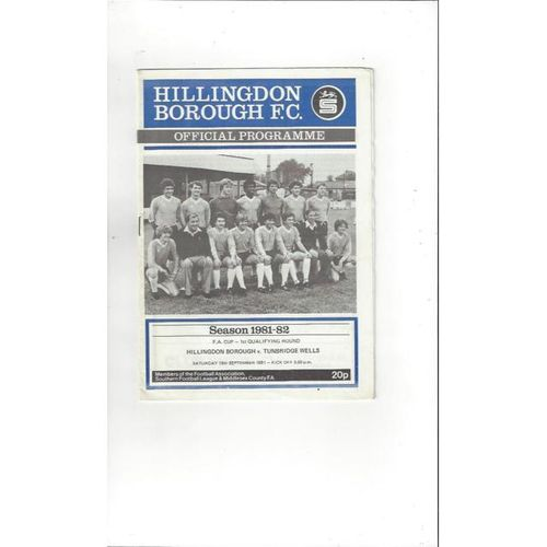 1981/82 Hillingdon Borough v Tunbridge Wells  FA Cup Football Programme