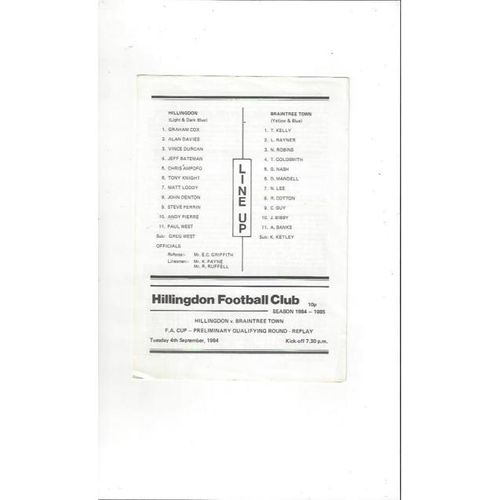 Hillingdon Borough v Braintree Town FA Cup Replay Football Programme 1984/85