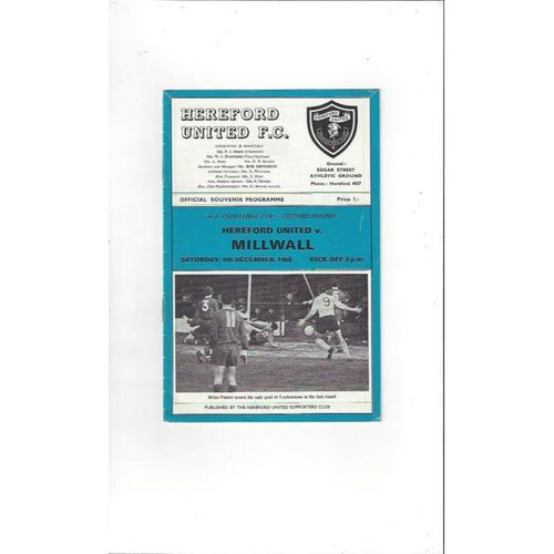 1965/66 Hereford United v Millwall FA Cup Football Programme