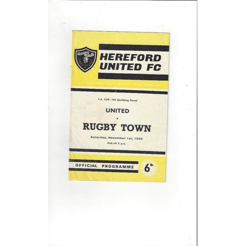 1969/70 Hereford United v Rugby Town FA Cup Football Programme