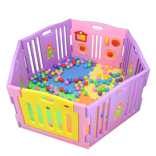 8 Sided Plastic Baby Playpen (Pink)