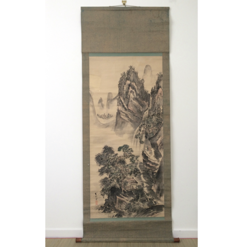 Chinese hanging scroll 193cm: mountains