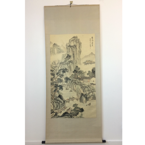 Chinese hanging scroll 180cm: mountains & bridge