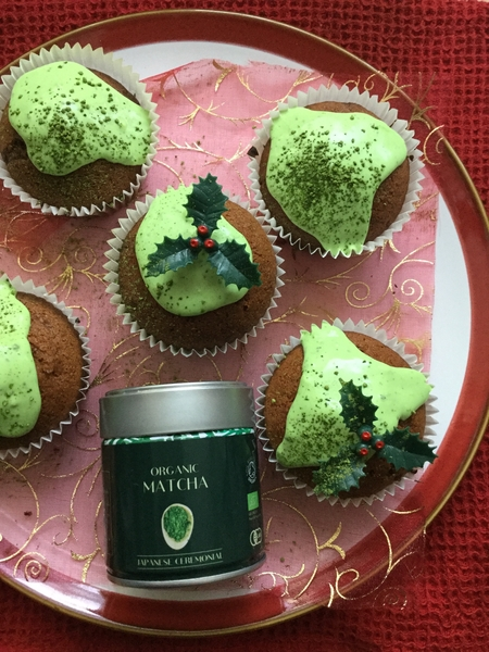 Ginger and Matcha Christmas Cupcakes