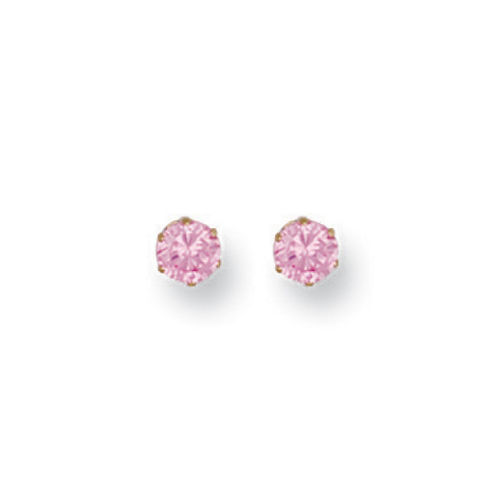 9ct GOLD 4mm PINK CZ STUDS