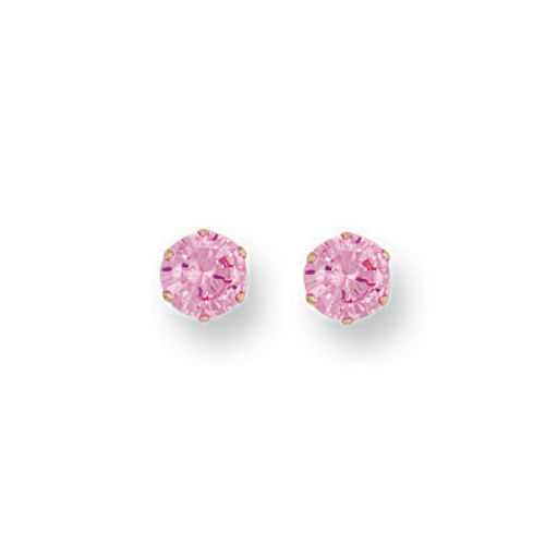 9CT GOLD 5mm PINK CZ STUDS