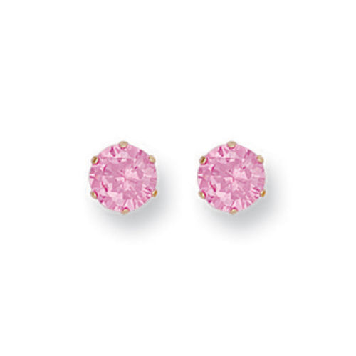 9ct GOLD 6mm PINK CZ STUDS