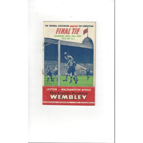 1952 Leyton v Walthamstow Avenue FA Amateur Cup Final Football Programme