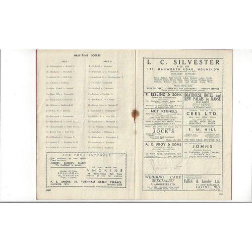 1950/51 Brentford v Bury Football Programme Autographed