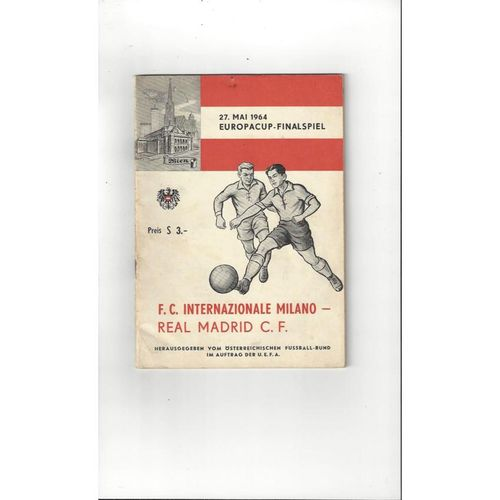 1964 Inter Milan v Real Madrid European Cup Final Football Programme + Insert