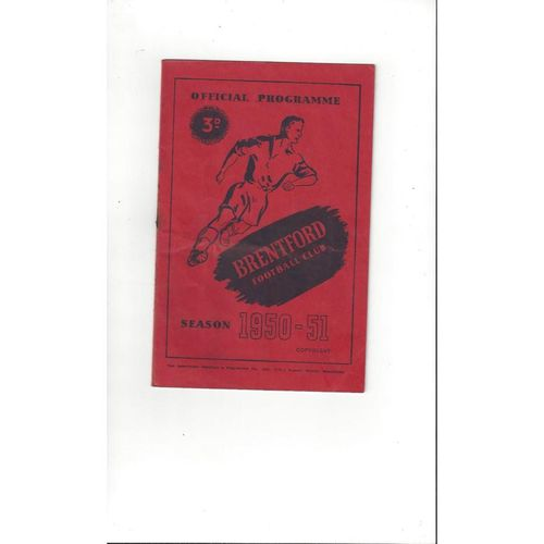 1950/51 Brentford v Sheffield United Football Programme
