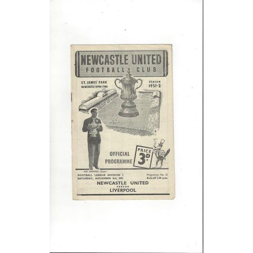 1951/52 Newcastle United v Liverpool Football Programme