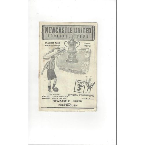 1951/52 Newcastle United v Portsmouth Football Programme