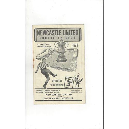 Newcastle United v Tottenham Hotspur Football Programme 1951/52