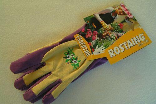 Ladies gardening gloves beige cotton waterproof PVC palm