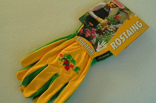 Ladies gardening garden gloves yellow cotton embroidered back green PVC coated palm