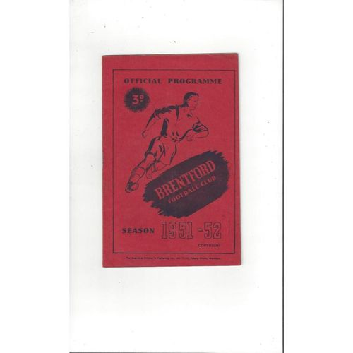 1951/52 Brentford v Notts County Football Programme