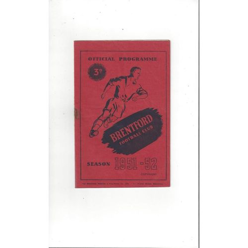 1951/52 Brentford v Luton Town Football Programme