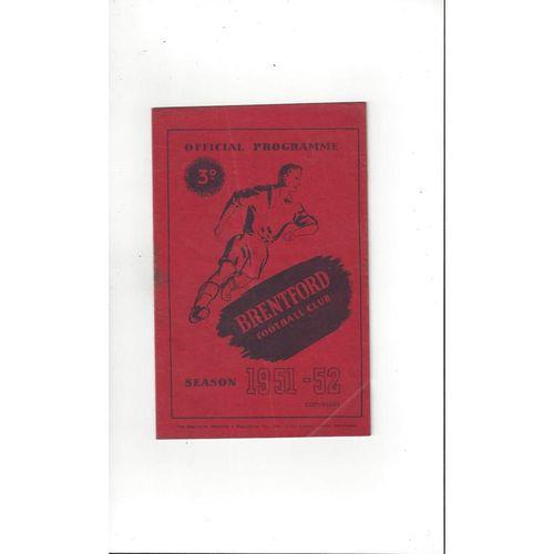 1951/52 Brentford v Queens Park Rangers Football Programme