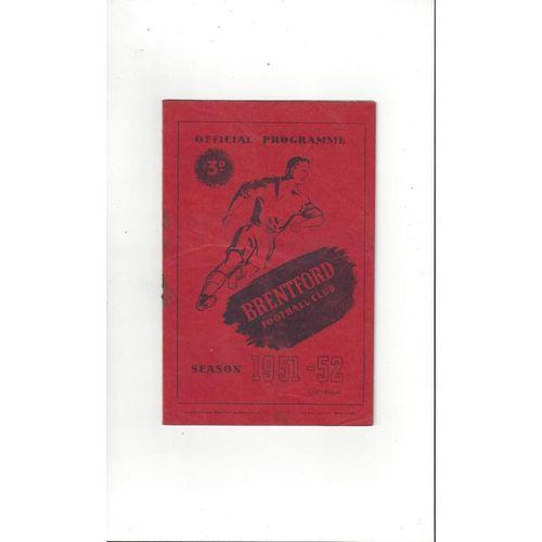 1951/52 Brentford v Southampton Football Programme