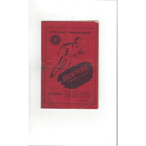 1951/52 Brentford v Swansea Football Programme