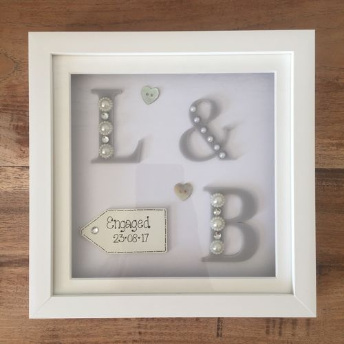 initials engagement frame - Engagement Picture Frame