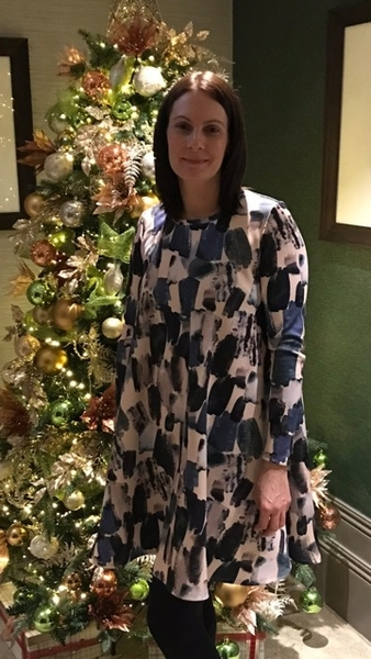 Lady McElroy Brushstrokes Scuba Ebony Dress