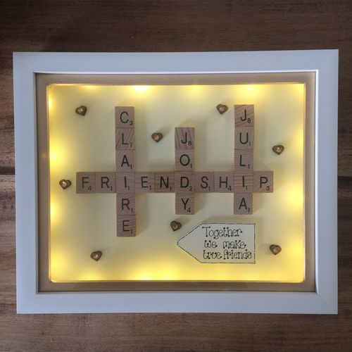 LED true friends scrabble word art